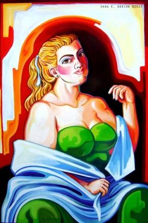 """Burlesque Dancer, Oil on Canvas 24"""" x 36"""""""