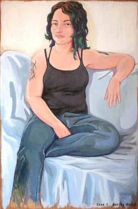 """'Portrait of Bela Grimm' Acrylic on Wood 24"""" x 36"""""""