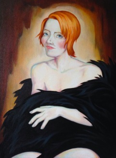 Woman in Black Fur, Oil on Canvas